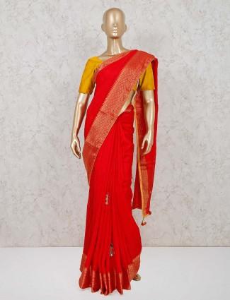 Latest red cotton silk festive wear saree