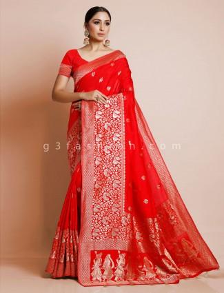 Latest red dola silk saree for wedding wear saree