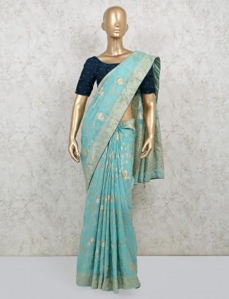 Latest sea green dola silk saree with contrast blousepiece
