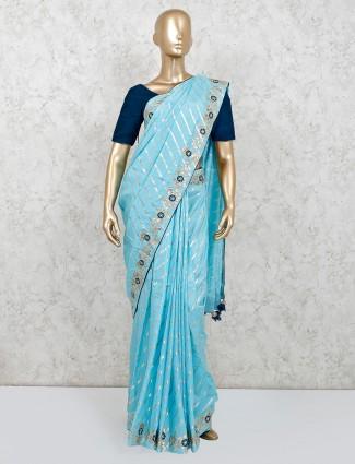 Latest sky blue party wear saree in dola silk