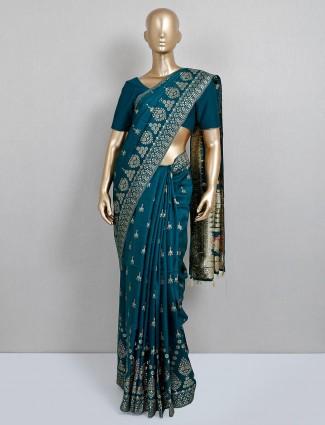 Latest trending wedding wear rama green dola silk saree