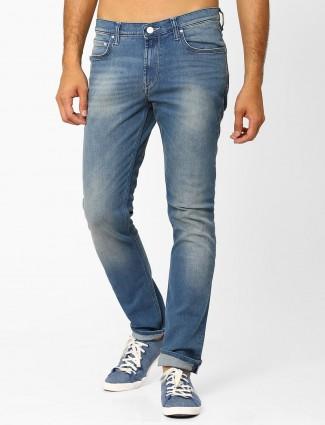 Lee plain casual wear blue slim fit denim jeans