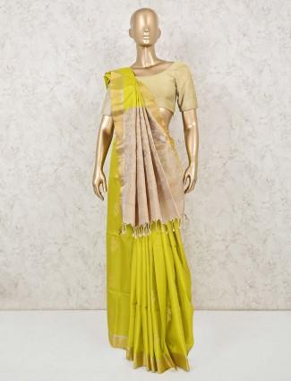 Lemon green south silk saree for wedding