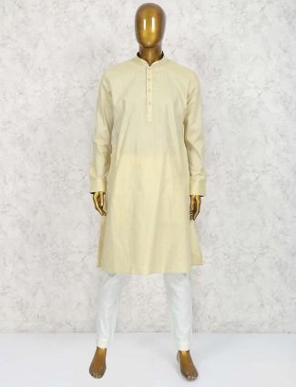Lemon yellow colored cotton mens kurta suit