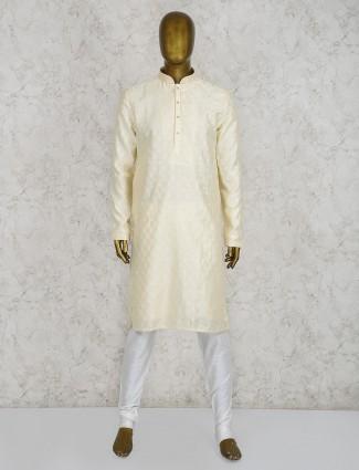 Lemon yellow cotton stand collar kurta suit