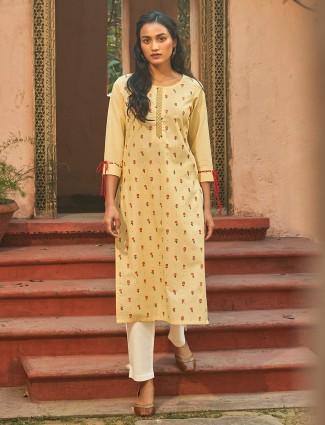 Lemon yellow printed cotton punjabi pant suit