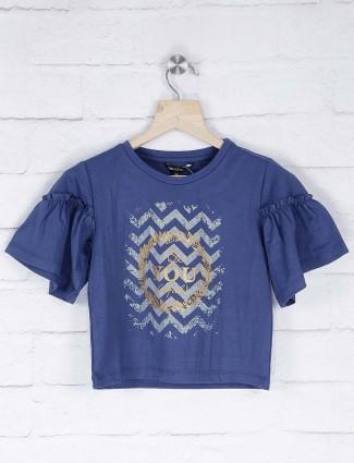 Leo N Babes blue color cotton fabric round neck top
