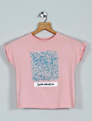 Leo N Babes printed peach cotton girls top