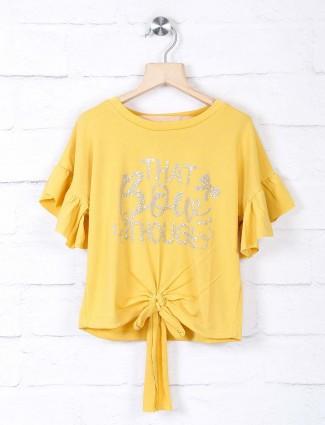 Leo N Babes printed yellow georgette top