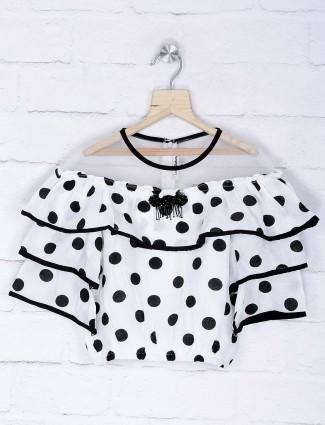 Leo N Babes white hue dot printed casual top