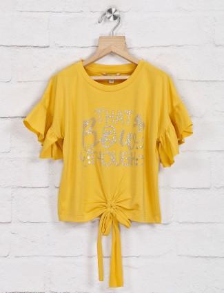 Leo N Babes yellow foil zari top