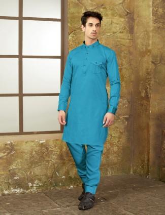 Light blue festive wear pathani suit