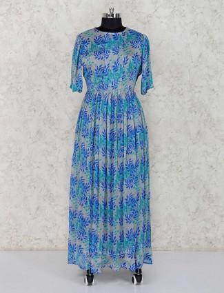 Light blue groegette printed anarkali suit