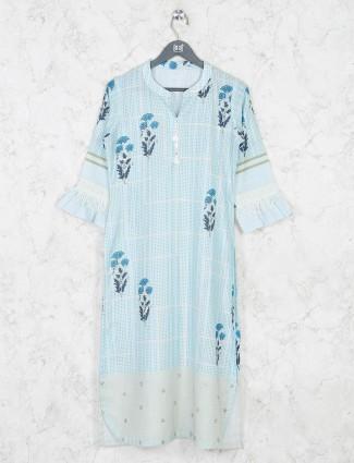 Light blue printed chinese neck kurti