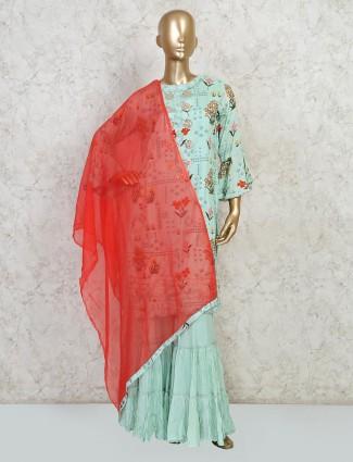 light blue printed punjabi style salwar suit