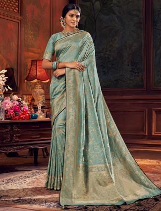 Light blue wedding wear silk saree