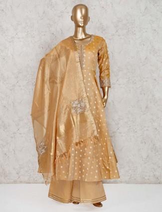 Light brown cotton silk festive anarkali palazzo suit