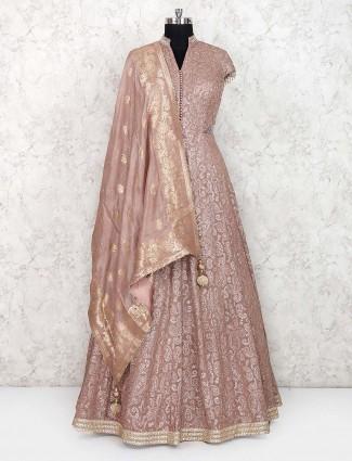 Light brown georgette fabric wedding floor length anarkali salwar suit