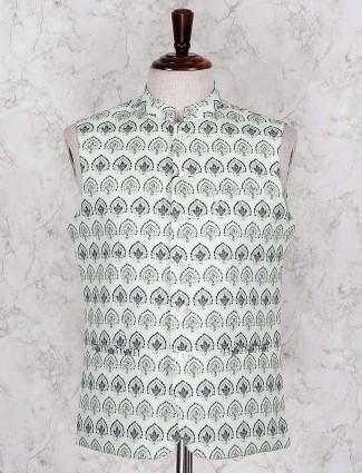 Light green printed full buttoned waistcoat