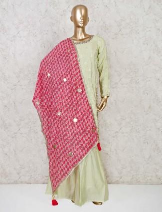 Light green punjabi sharara in satin silk