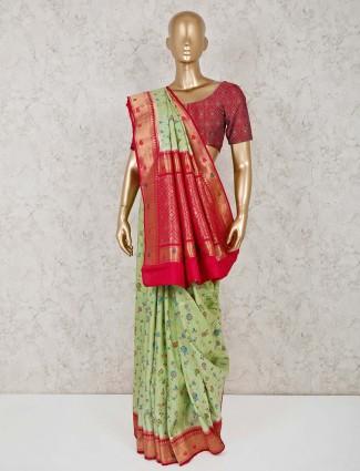 Light green semi silk festive wear saree