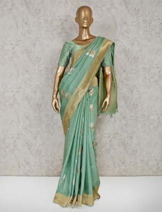 Light green semi silk saree for reception wear