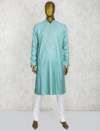 Light green sober cotton silk kurta suit