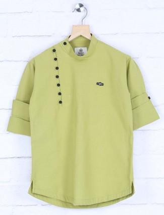 Light green solid cotton kurta