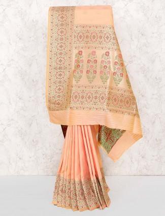 Light pink semi silk wedding saree