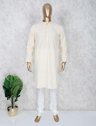 Light yellow cotton full sleeeves kurta suit