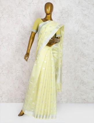 Light yellow pure silk classic saree