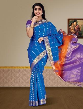 Lovely blue color kanjivaram pure silk saree