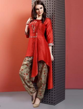 Lovely red color cotton fabric punjabi salwar suit