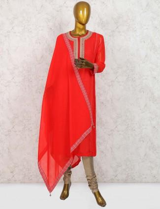 Lovely red hue georgette punjabi salwar suit