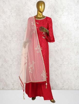 Lovely red hue raw silk punjabi palazzo suit