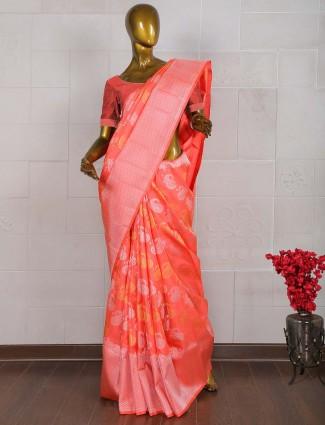 Lovely red pure banarasi wedding saree