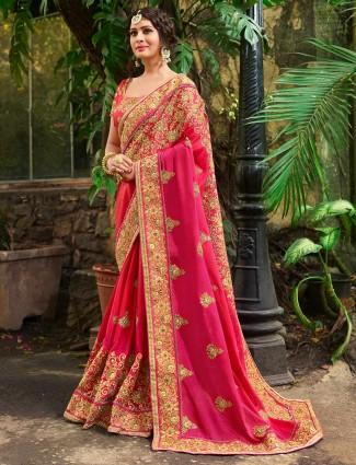Magenta color marble chiffon wedding saree