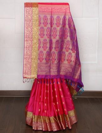 Magenta color silk saree for festive
