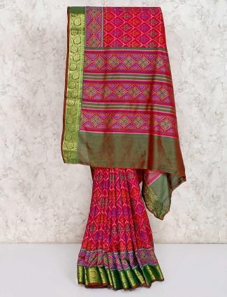 Magenta cotton silk festive patola printed saree