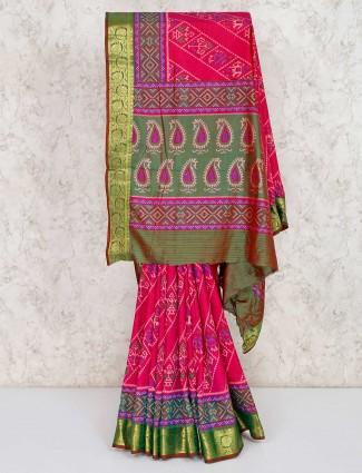 Magenta cotton silk patola printed saree