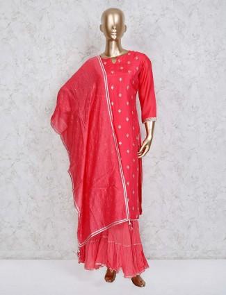 Magenta cotton silk punjabi sharara suit