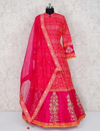 Magenta cotton silk wedding anarkali salwar suit