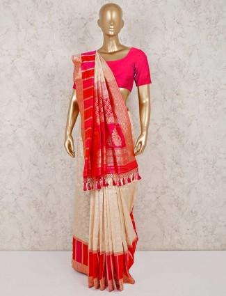 Magenta cream zari weaving banarasi silk saree