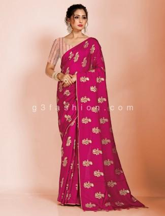 Magenta dola silk sari with tassels trimmed pallu