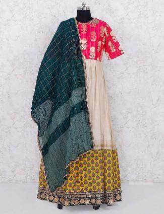 Magenta hue cotton fabric lehenga choli