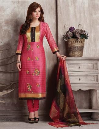 Magenta hue salwar suit in cotton silk fabric