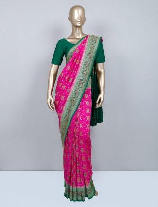 Magenta muga silk saree for wedding days