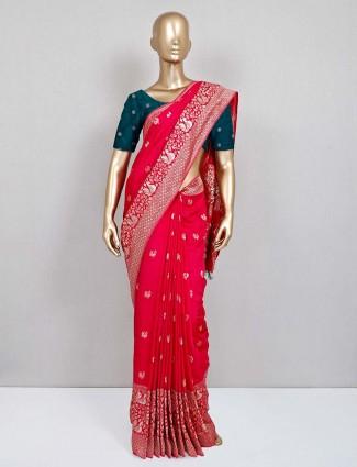 Magenta semi silk wedding wear sari