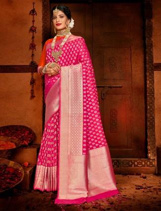 Magenta wedding saree in banarasi silk