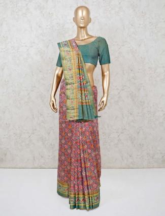 Magenta zari weaving semi silk printed saree
